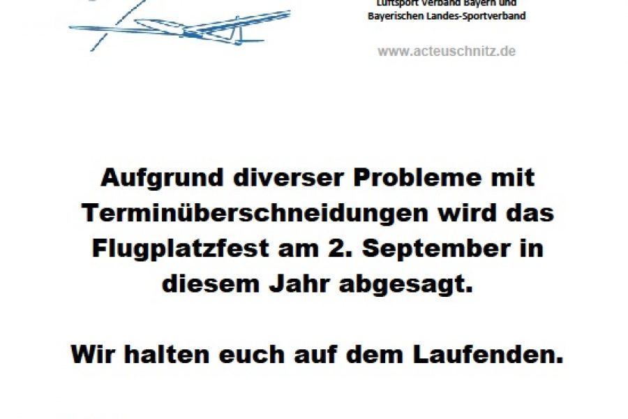 Absage Flugplatzfest 2018